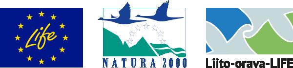 Euroopan Unionin LIFE-rahaston, Natura 2000 ja Liito-orava-LIFE-hankkeen logot